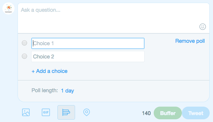 The Twitter poll creation options including entering responses and the length of the poll.