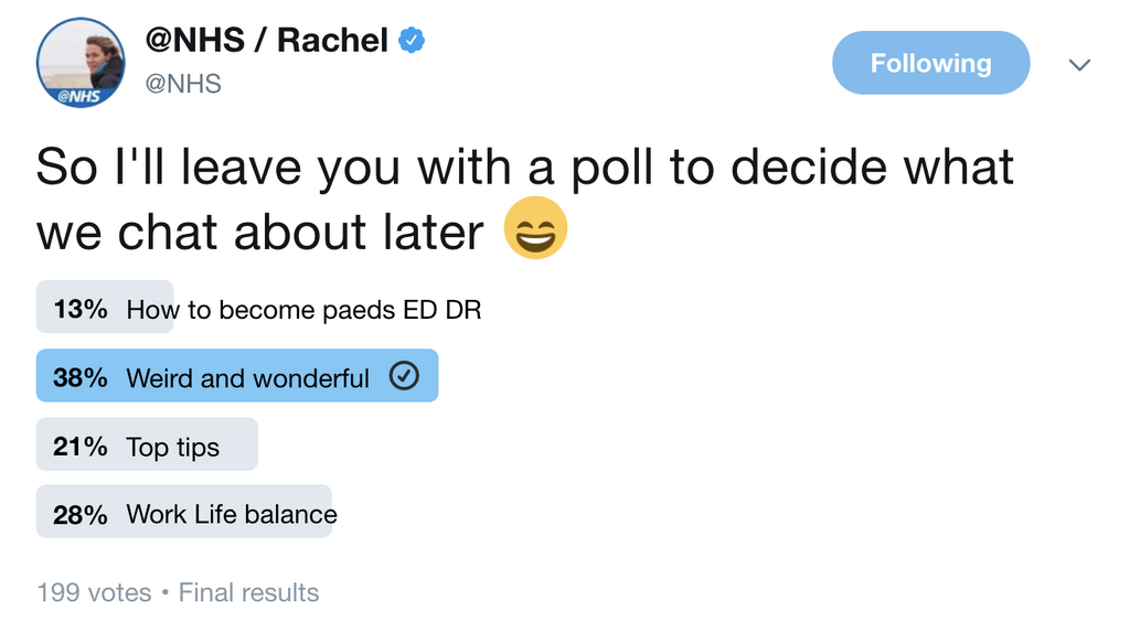 A Twitter poll example from the NHS asking users to decide on a discussion topic