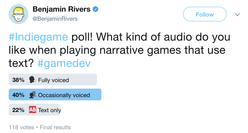 A Twitter poll where a game developer has asked for opinions on the ue of types of audio in certain situations