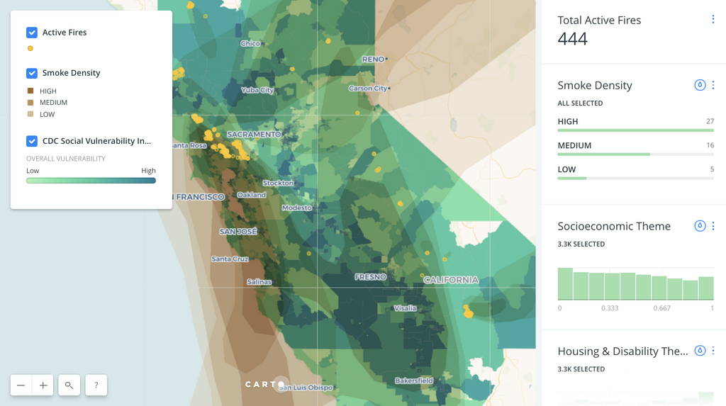 A Carto map data visualization showing Californian wildfire