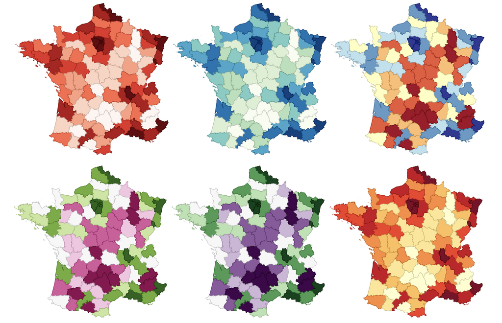 Six choropleth map data visualization examples of France