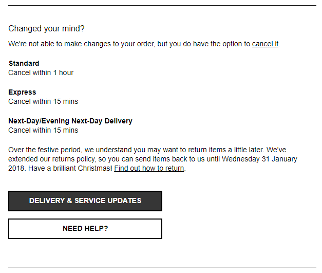 The order confirmation screen for ASOS