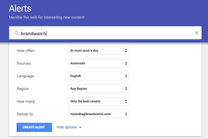 google alerts is a great beginners tool