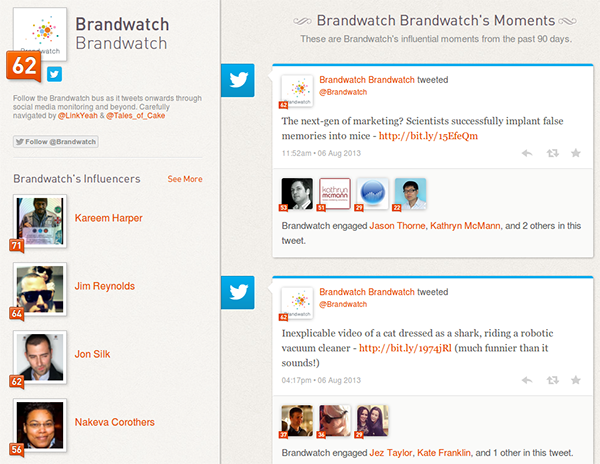 klout - social monitoring that assigns a score to each user