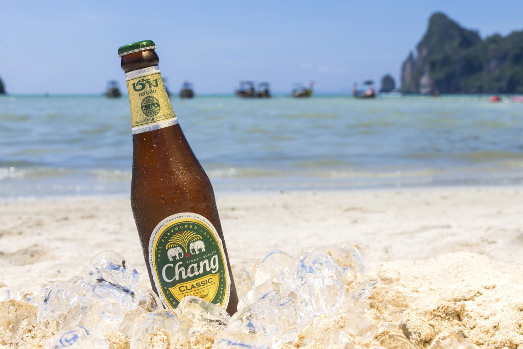 Chang beer on the beach