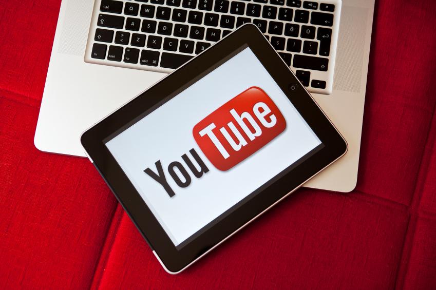Youtube logo on iPad screen