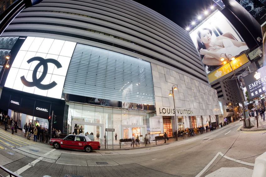 Shops of well known brands in HongKong