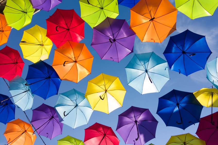 Colourful umbrellas - the same but different