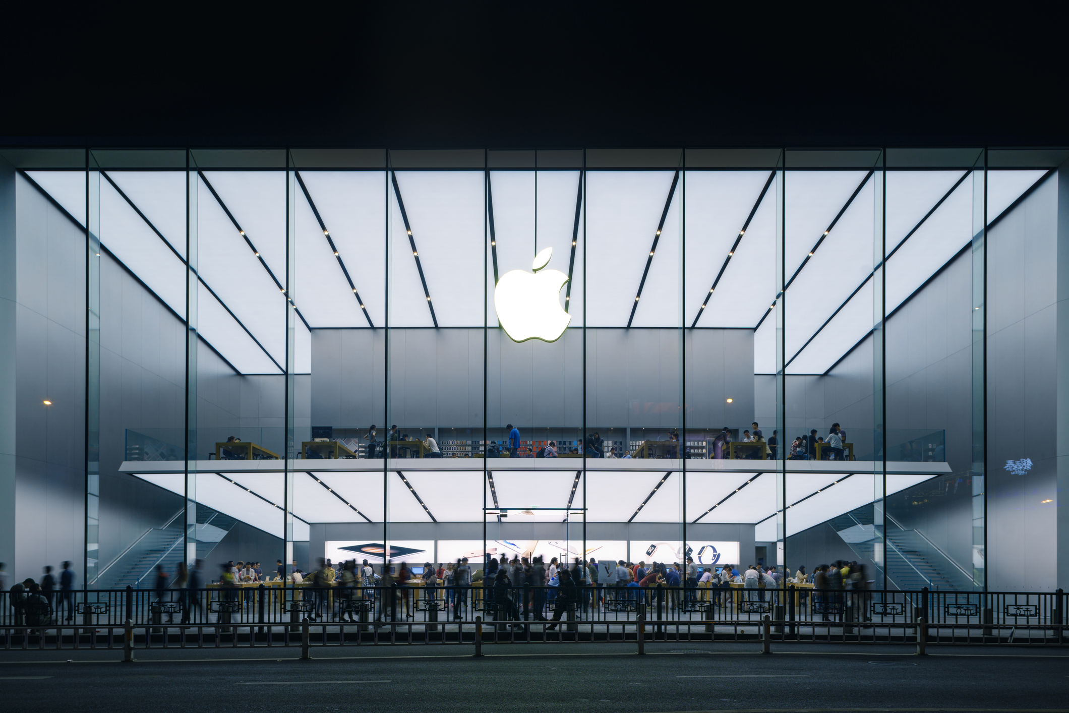 Hangzhou, China- October 19, 2015: Apple Store in China.Many people inside and outside the shop.