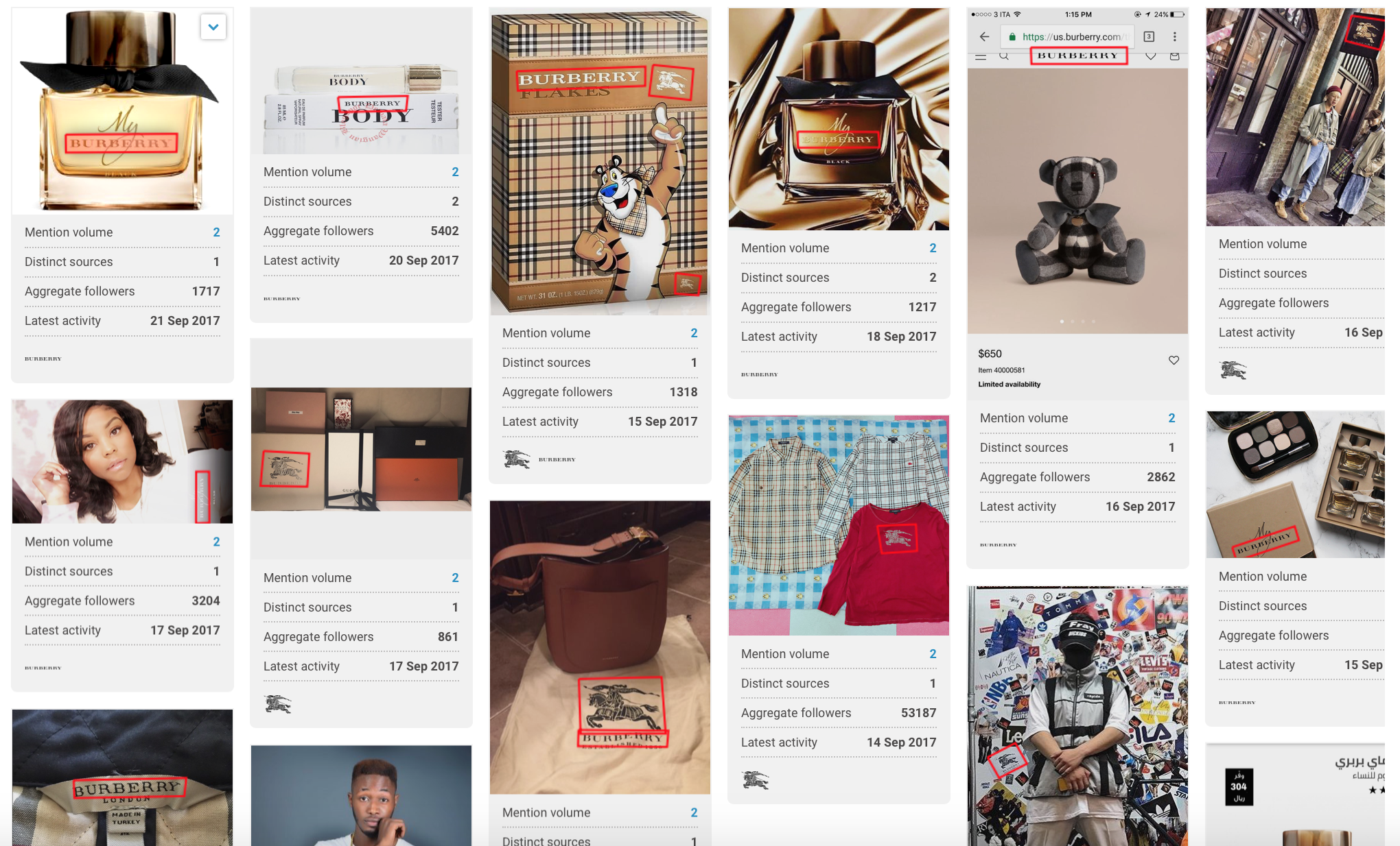 A screenshot from the Brandwatch platform showing images containing Burberry's logo. Some are of perfume, some of bags, some of shops on the street and one of Tony the Frosties Tiger on the front of a box!
