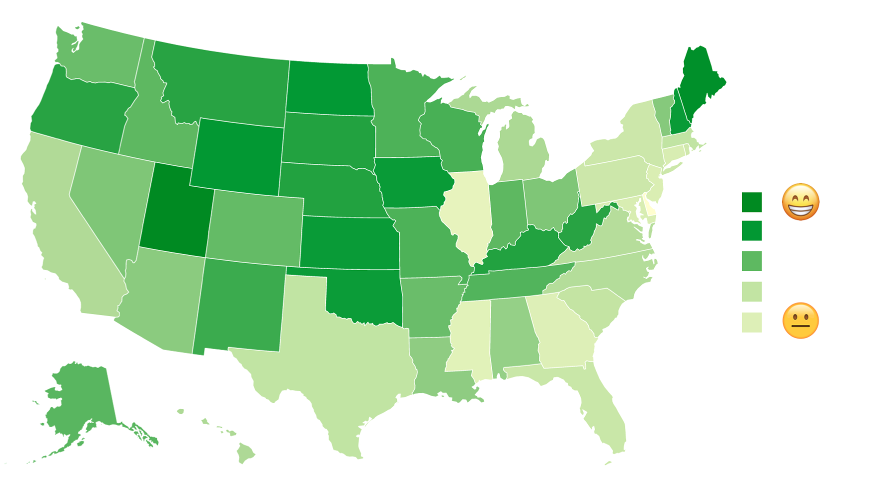 Heat map reveals happiest places in the US