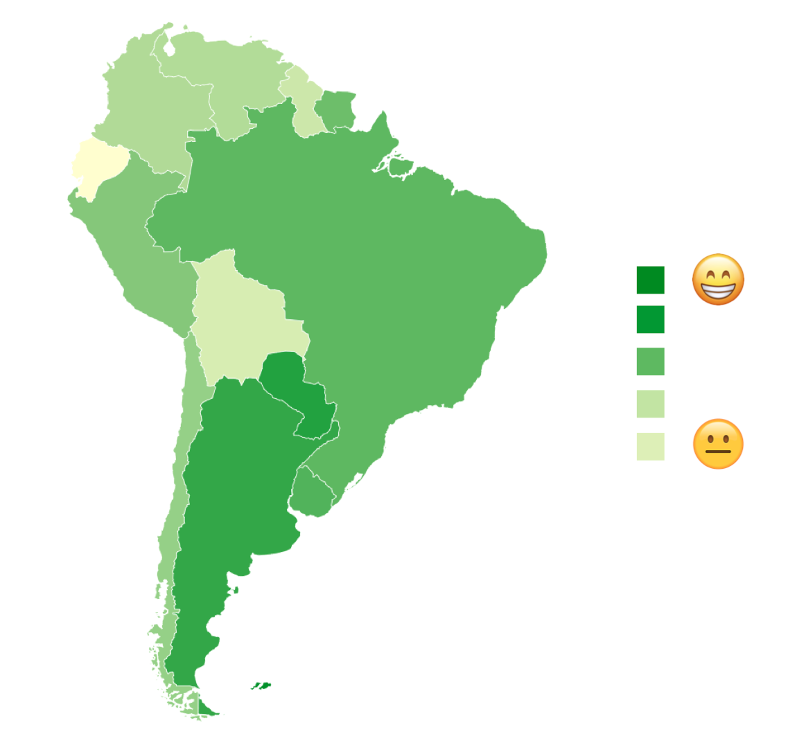 Heat map reveals happiest places in South America