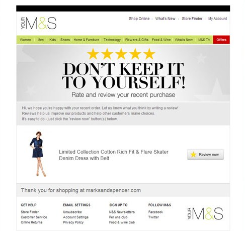 Marks and Spencer review page