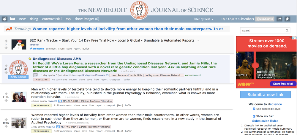 A screenshot of the Science subreddit