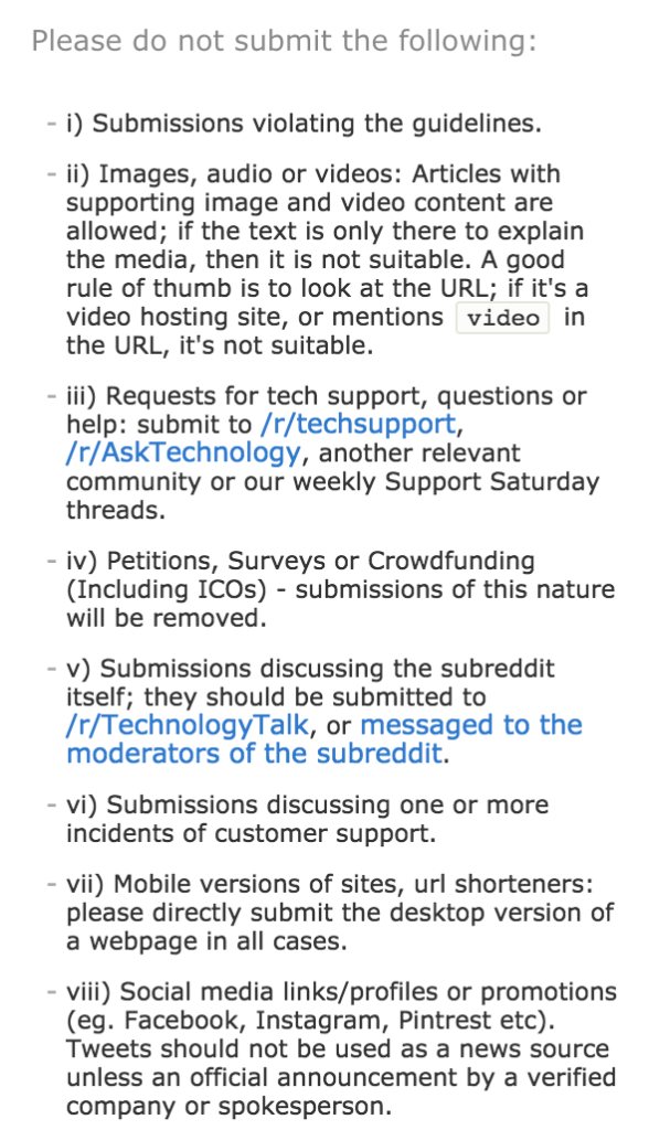 A sample of the technology subreddit's rules