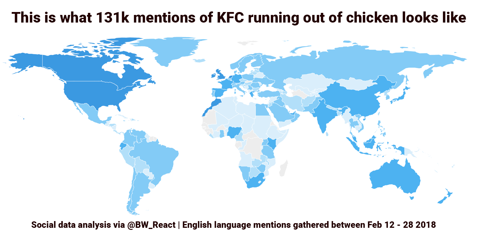 A map of the world shows countries lighting up with mentions of KFC running out of chicken. UK and US are particularly strongly colored.