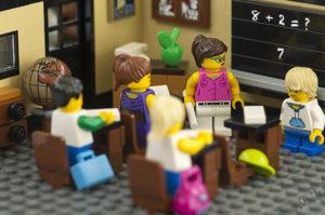 A Lego scene of a classroom