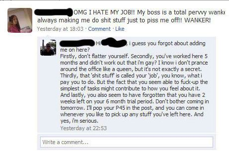 I hate my job rant on Facebook